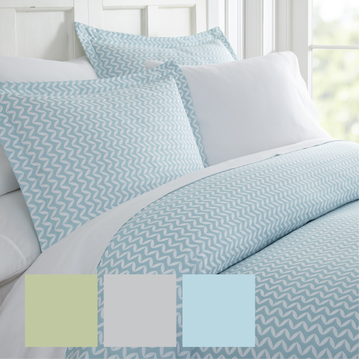 Home Collection? Premium Ultra Soft 3 Piece Puffed Chevron Print Duvet Cover Set - California King/King, Light Gray