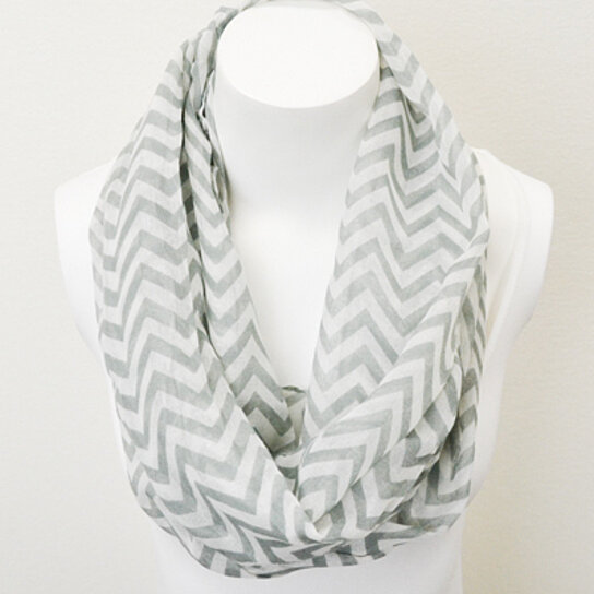 buy chevron infinity scarf gray and white by lori anne originals on