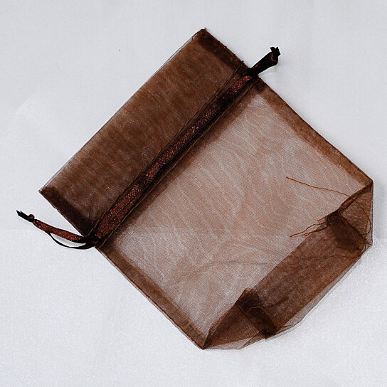 Buy 4 X 5 Brown Gusseted Small Organza Drawstring Favor