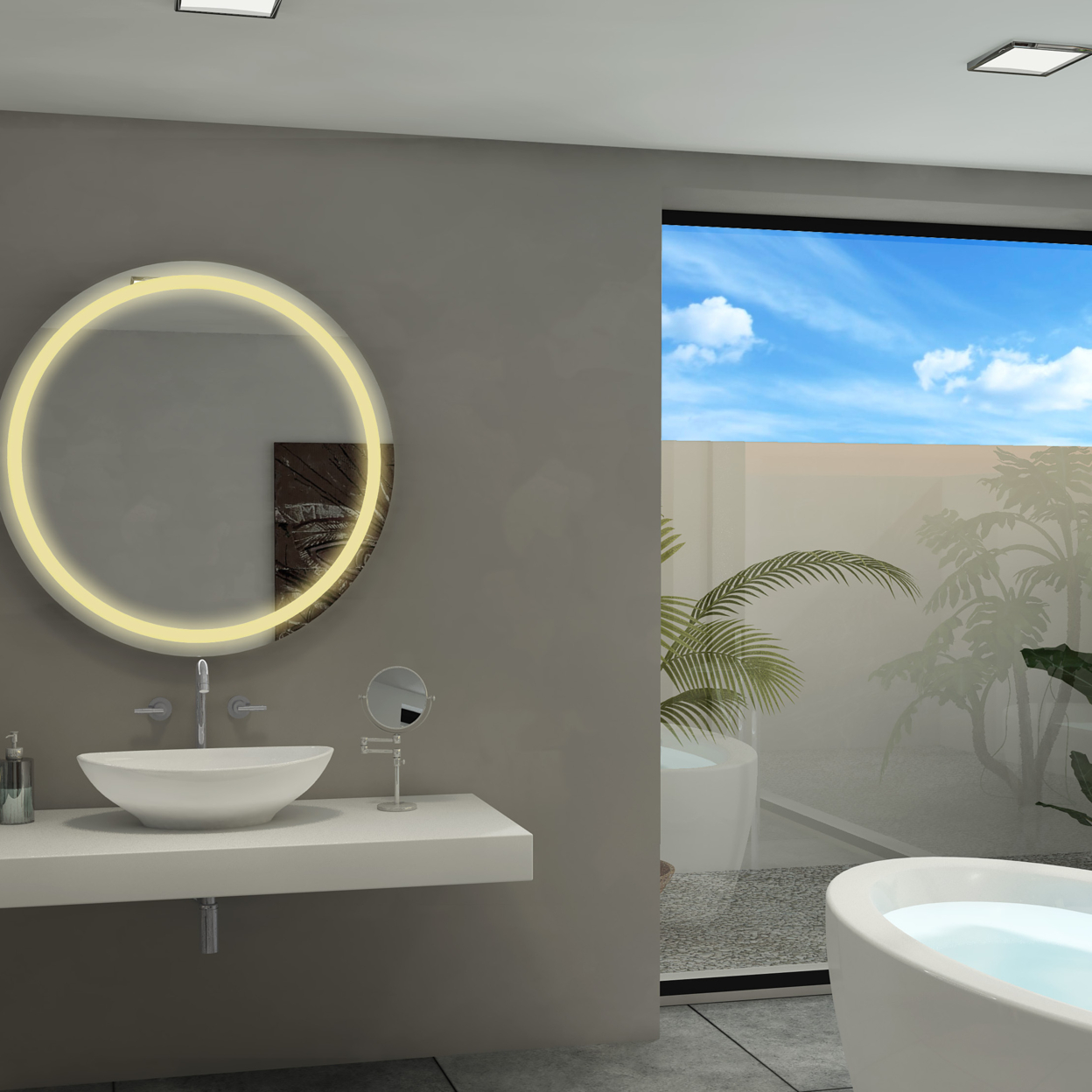 """Dimmable Round Harmony Mirror – 36""""x36"""", 3000K"""