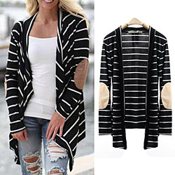 Pure Cotton Long Sleeve Striped Cardigan Elbow Patchwork Knitted Sweater