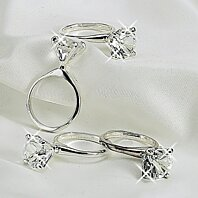 Elegance Set of 4 Silver Diamond Napkin Rings