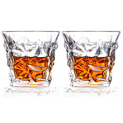 Crystal Lead Free Diamond Quality Whiskey Glass Old Fashioned Glass Rocks Scotch Glasses, 10oz, Set of 2