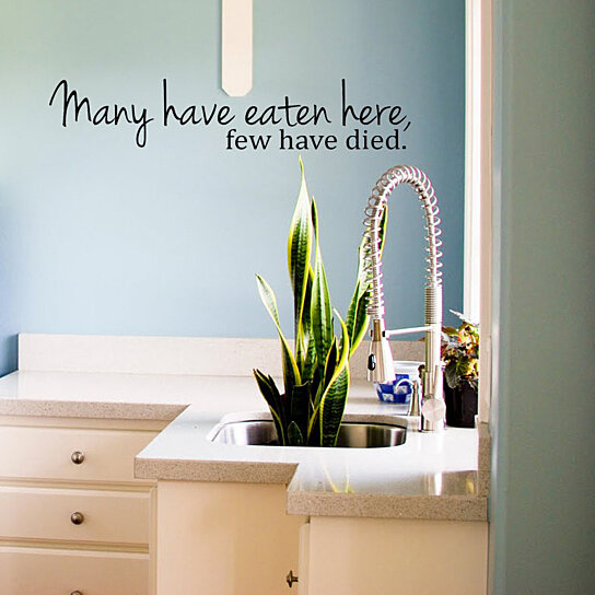 Buy many have eaten here few have died cute and funny - Funny kitchen wall decals ...