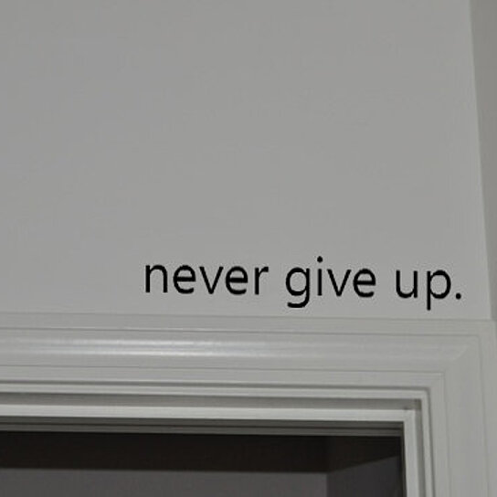 Buy Never Give Up Inspirational Above the Door Vinyl Wall