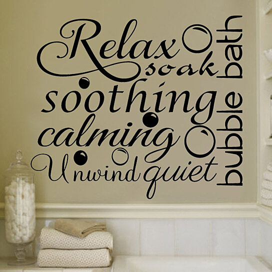 buy relax soothing words collage for the bathroom decor vinyl wall