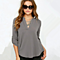 Stylish Female V-Neck Long-Sleeved Wrinkled Sleeves Loose Chiffon