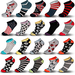 Women's Printed Ankle Socks, Set of 20 Assorted Pairs