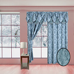 Pair of Elegant Penelopie Jacquard Look Curtain Panel with Valance