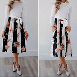 Floral Printed Stripe Dress