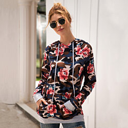 Lilly Posh Floral and Camouflage Hoodie Shirt