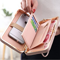 Bowknot Wallet Clutch With SmartPhone Holder in 8 Colors