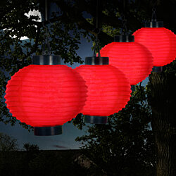 Solar Outdoor Lantern - Hanging Nylon Rechargeable LED Chinese Lighting for Garden Set of 4 Red