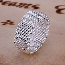Modern Sterling Silver Woven Mesh Ring