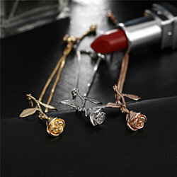 Belle Fleur 3D Flower Rose Pendant Necklace Bracelet in 3 Colors