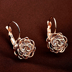 Crystal in a Rose Earrings, Necklace, and Ring in 18K Rose Gold or Platinum (Sold Separately)