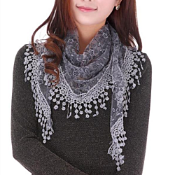 Sheer Lace Crochet Trim Shawl Scarf in 17 Colors
