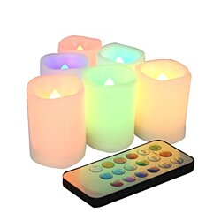 Set of 6 Color Changing Indoor / Outdoor Flameless Votive Candles with Remote and Time, Battery Operated, Batteries Included, 12 colors