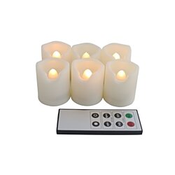 EcoGecko Set of 6 Indoor Outdoor Flameless Warm Glow Votive Candles with Remote and Timer, Battery Powered Candles, Tealights, Batteries Inc