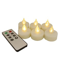 EcoGecko Set of 6 Remote Controlled Flameless LED Tealight Candles (87221-06)