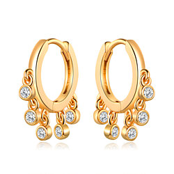 Gold Plated Swarovski Made with Crystal Hoop Earrings