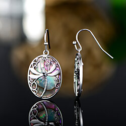 Rhodium Plated & Genuine Abalone Pearl Dragonfly Dangling Earrings