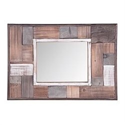 Foreside Home and Garden Recycled Wooden Block Wall Mirror