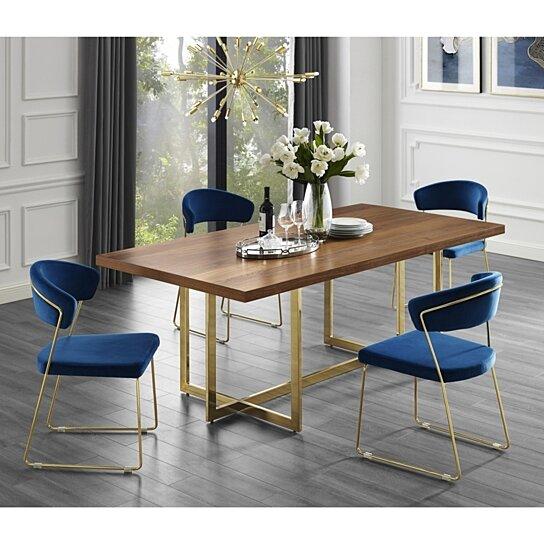 Buy Agustin Wood Veneer Dining Table - Metal Base   Modern ...