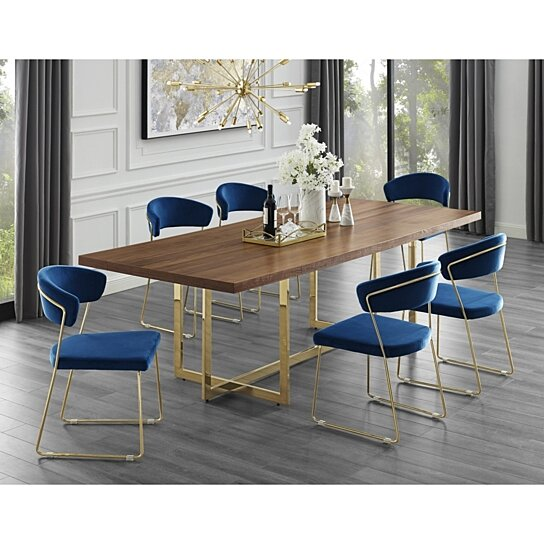 Dining Room Table Bases Wood: Buy Agustin Wood Veneer Dining Table - Metal Base