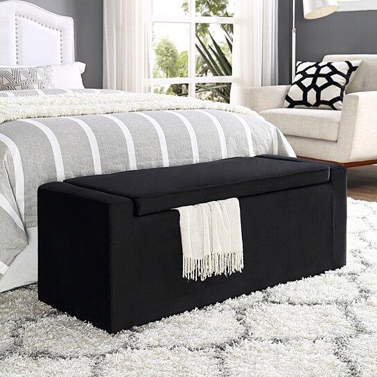 Buy Carson Velvet Storage Bench Shoe Storage Upholstered Living Room Entryway Bedroom