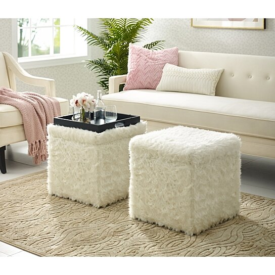Strange Daisy Faux Fur Ottoman Storage Space Serving Tray Top Cube Shaped Modern Functional By Inspired Home Alphanode Cool Chair Designs And Ideas Alphanodeonline