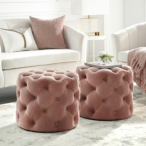 Darlenis Velvet or Linen Ottoman - 1 PC | Allover Tufted | Round | Contemporary | By Inspired Home
