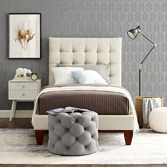Buy Fabrizio Linen Tufted Platform Bedframe King Queen Full Twin Upholstered Modern And Contemporary Inspired Home By Inspired Home On Dot Bo