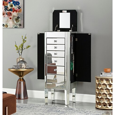Fernando Jewelry Armoire - Mirrored | 6 Drawers | Lift Up Top