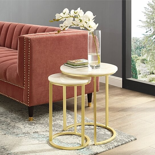 Fantastic Grace End Or Coffee Table Round Natural Marble Metal Frame Stackable Set Of 2 Inspired Home Inzonedesignstudio Interior Chair Design Inzonedesignstudiocom