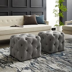 Harmony Velvet or Linen Ottoman - Square Shaped | Allover Tufted Design | Modern & Functional by Inspired Home