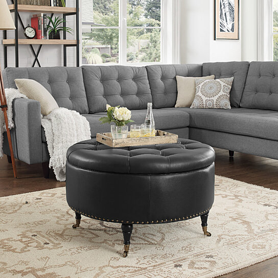 Amalia Pu Leather Round Storage Ottoman With Casters Gold Nailhead Trim On Tufted Modern Functional By Inspired Home