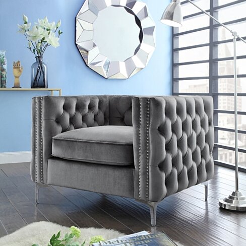 Alison Velvet Club Chair or Sofa - Button Tufted | Nailhead Trim | Inpired Home