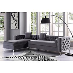 Alison Velvet Chaise Sectional Sofa - 115"