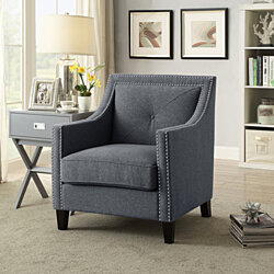 Inspired Home Beatrix Linen Modern Contemporary  Accent Chair W/ Nailhead Trim and Solid Oak legs