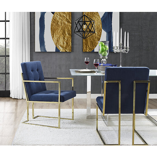 Wondrous Cecille Pu Leather Or Velvet Dining Chair Set Of 2 Chrome Gold Frame Square Arm Button Tufted Modern Functional By Inspired Home Forskolin Free Trial Chair Design Images Forskolin Free Trialorg
