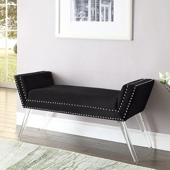 Dhyan Velvet Upholstered Bench - Modern Acrylic Legs | Nailhead Trim |  Living-room, Entryway, Bedroom | Inspired Home