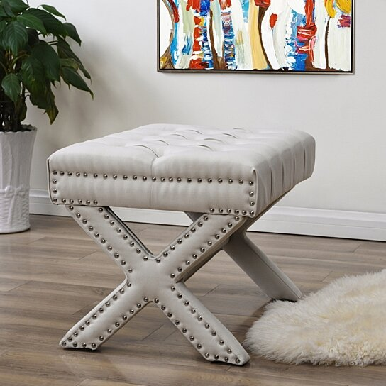 Magnificent Emma Linen Button Tufted Ottoman Silver Nailhead Trim X Legs Upholstered Modern Functional By Inspired Home Caraccident5 Cool Chair Designs And Ideas Caraccident5Info