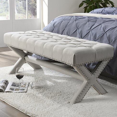 Jacqueline Linen Button Tufted Bench - Silver Nailhead Trim |  X-Legs | Upholstered | Modern & Functional by Inspired Home