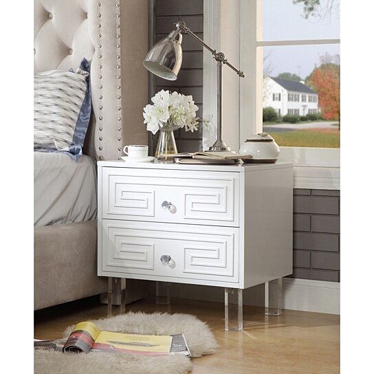 Buy Lottie Glossy Nightstand Lacquer Finish Side Table