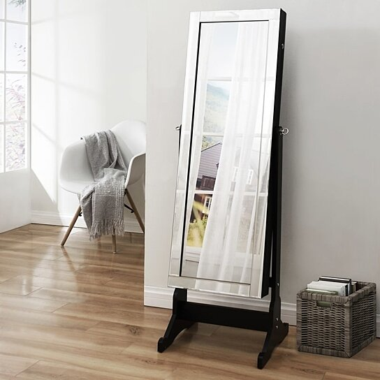 Buy Inspired Home Margaret Full Length Jewelry Cheval Armoire Makeup  Storage Organizer Mirror Border Lockable With LED Lights By Inspired Home  On Dot U0026 Bo