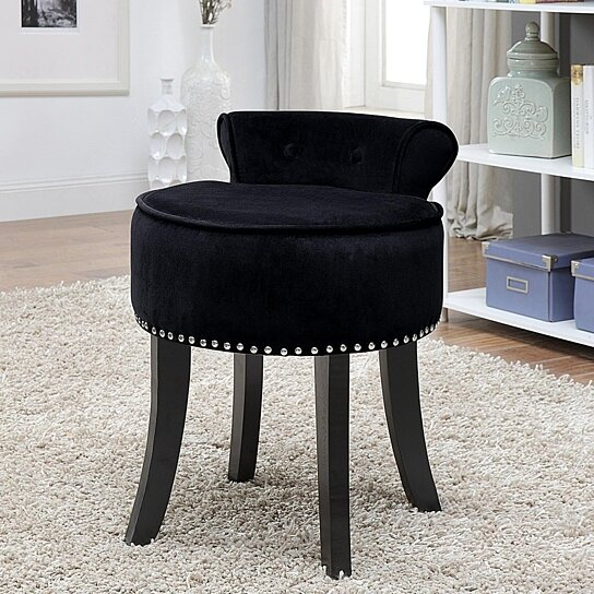 Odion Velvet Vanity Stool - Nailhead Trim | Roll Back | Tufted | Bedroom |  Modern & Functional by Inspired Home