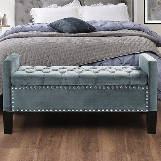 Scarlett Velvet Button Tufted Storage Bench   Silver Nailhead Trim |  Upholstered | Modern U0026 Functional By Inspired Home