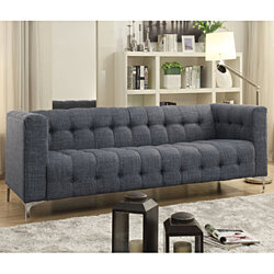 Inspired Home Serena Linen Modern Contemporary Button Tufted Metal Y-leg Sofa