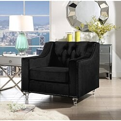 Tegla Velvet  Club Chair |  Button Tufted | Upholstered |  Lucite Acrylic Legs | Modern & Functional by Inspired Home